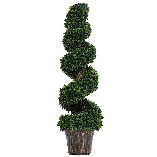 Outsunny Pianta Artificiale Bosso a Spirale (Ф32cm x 112cm), Verde Decorativo per Interni ed Esterni, con Vaso Incluso