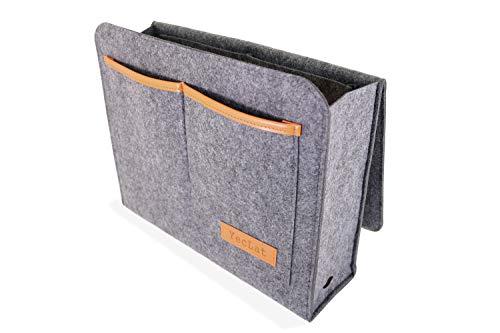 Yeclat nachtkastje vilt organizer voor bedframe, slaapzalen en stapelbedden – robuuste hangende opslag voor laptop, boeken, tablets en afstandsbedieningen, draagbaar tot 13 kg in 5 zakken