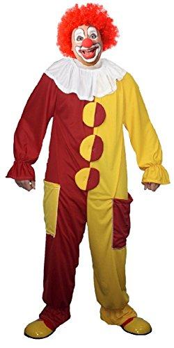 The Dragons Den Disfraz divertido de payaso rojo y amarillo [L/XL hasta 52 pulgadas de pecho]
