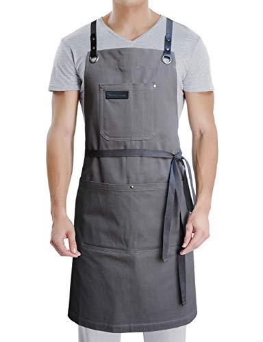 Profi Schürze mit Taschen für Koch Kochen Küche Grill, Herren Damen Schürze mit Leder Kreuz Rücken Träger & Verstellbar S bis XXL