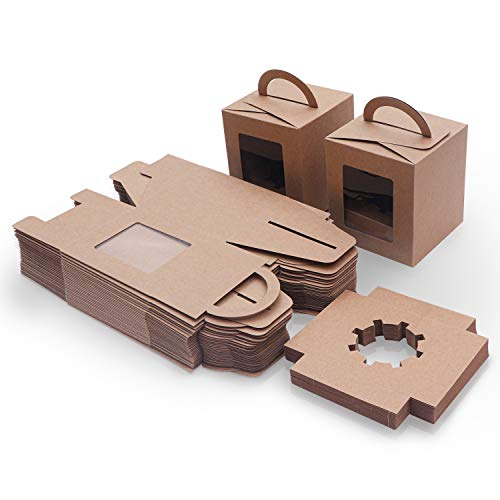 Braune Kraftpapier Geschenkboxen für Gebäck (50 Stk) - Karton Box Verpackung mit Sichtfenster (9.39x9.39x10.66cm) – Cupcake Schachtel Pappschachtel für Kekse, Kuchen, Muffin, Dessert, To Go Behälter