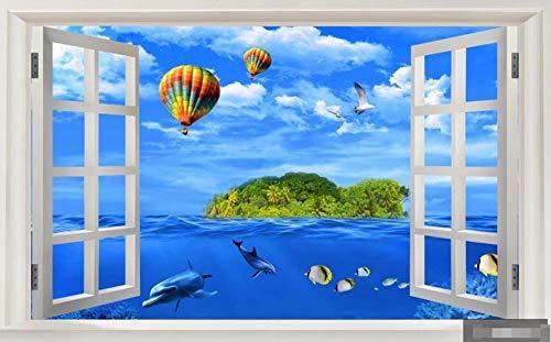 Fototapete 3d Effekt Fenster, Meer, Insel, Tropischer Fisch Fototapete schlafzimmer Tapete Vliestapeten Wohnzimmer Wandbilder Wallpaper Wanddeko 250x175cm