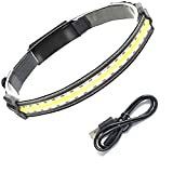 UKETO Hi-Beam Work Light Headband.Portable Headlight.Broadbeam Led Headlamp with USB Charging Cable.Ultra-Low Profile Waterproof Durable Elastic Headband Hi-Beam Work Light