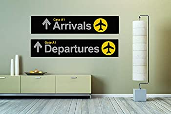Arrivals Departures Airplane Airport Sign Wall Vinyl Sticker Car Mural Decal Art Decor LP7820