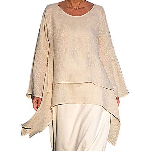 Kolila Damen Plus Size T-Shirt Tops Lässig Einfarbig Leinen Unregelmäßiger Rand Langarm Lose Tee Bluse Tunika(Beige,L)