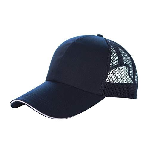 YXLM Malla De Primavera Y Verano Malla Gorra De Béisbol De Protección Sol Al Aire Libre Viajes De Visera De Viaje Personalizado Impresiones Sombreros (Color : Navy Blue White)