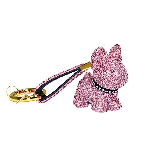CHENNI Luxury Crystal French Bulldog Keychain, Lanyard Rhinestone Leather Strap Dog Keychains, Glitter Keychain, Keychain Accessories for Bag or Car Pendant or Cellphone (Pink)