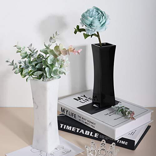 Lewondr Blumenvase Decorative Vase, 2 Stücke Elegant Harzvase mit Einzigartiges geschwungenes Design, Deko Vase für Wohnzimmer Arbeitszimmer Tisch, 7.1 Zoll - Tinte Weiß & Schwarz