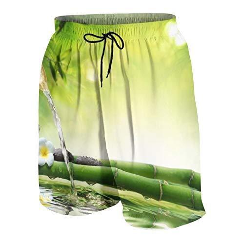 Uomo Casuale Pantaloncini da Surf,Meditazione Spa E Immagine di Steli di bambù Candela E Pietre di Basalto Theraphy Rilassante,Costume da Bagno Sportivo Abbigliamento da Spiaggia con Fodera in Rete