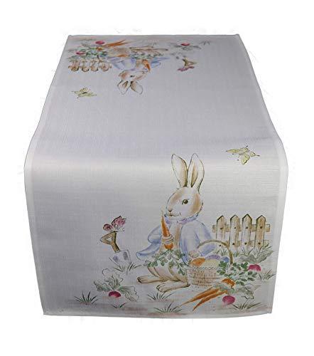 Consept Tischläufer Tischband Hase Läufer Ostern Osterdecke Leinenoptik Geschenkidee 40/90 cm Weiß/Bunt