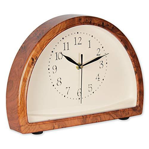 SOLDELA Horloge à Poser - Demi-Cercle - Loupe d'Orme – Touch – Sweep Silence - sans Tic Tac – Lumière LED chaleureuse - Motif Bois - 26 CM