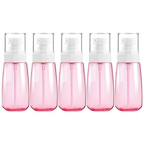PAN-FR Bouteilles cosmétiques, 5 PCS Bouteilles en Plastique de Voyage, 60ml Bouteilles de Rechange (Couleur : Rose)