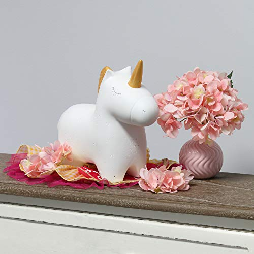 Simple Designs Home LT3339-WHT Porcelain Unicorn Shaped Table Lamp, White