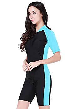 Short Sleeve One Piece Swimsuit Plus Size,Light Blue-Women,Asian M = US S