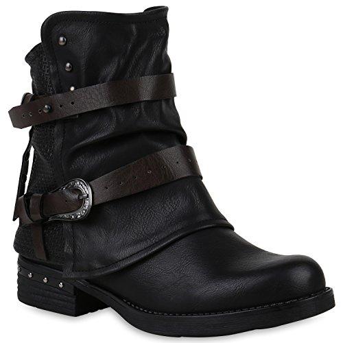 Damen Stiefeletten Biker Boots Leicht Gefütterte Booties Schnallen Schuhe 147631 Schwarz Black Nieten 37 Flandell