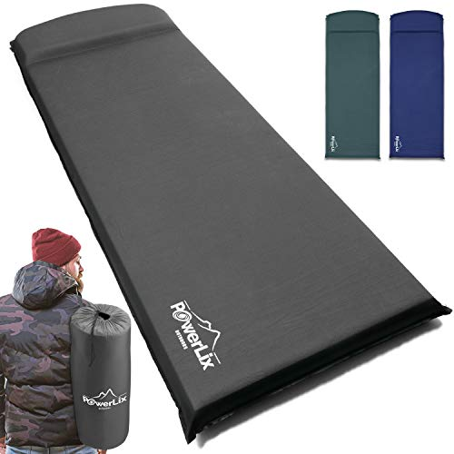 Powerlix Sleeping Pad – Self-Inflating Foam Pad - Insulated 3inches Ultrathick Mattress for Camping, Backpacking, Hiking - Ultralight Camping Mat Pad for A Tent, Built in Pillow- Fits in A Carry Bag