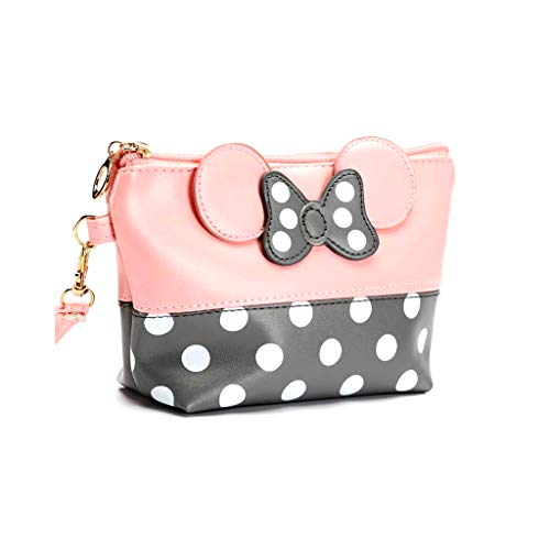 Mouse Ears Style Tupfen Kosmetiktasche - Damen Schminktasche Cartoon Mini Geldbörse für Handtasche Makeup Tasche,Schlüsseln, Kopfhörern, Lippenstift (Pulver weiß)