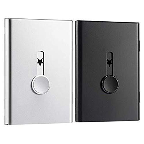 PQZATX 2 Paquetes de Titular de la Tarjeta de Negocio,Caja de la Tarjeta de Memoria USB Tarjetero de Negocio de Acero Inoxidable Deslizable el Estuche para Tarjetas (Plata y Negro)