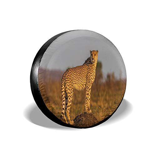 Usicapwear Tire Cover Band Cover Wiel Covers, Afrikaanse Wild Animal Cheetah Staand Op Termite Mound Savannah Nature View,voor SUV Truck Camper Travel Trailer Accessoires 14 inch