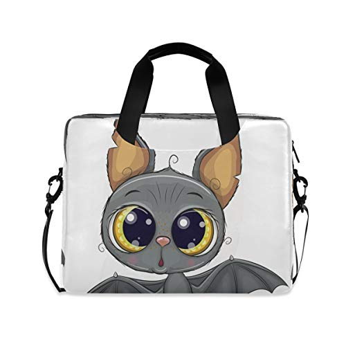 Cute Cartoon Bat Funny Halloween Laptop Case 15.6 Inch Computer Carrying Protective Case with Strap Bag