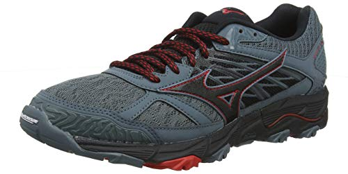 Mizuno Wave Mujin 5, Zapatillas de Running para Asfalto Hombre, Gris (Quarry/Black/Brilliant Blue 09), 44.5 EU