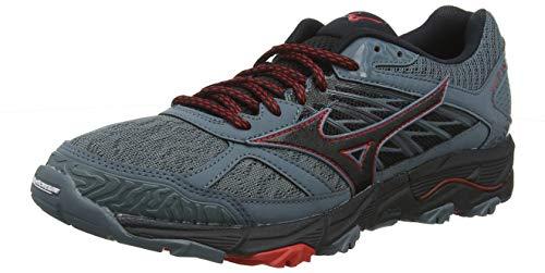 Mizuno Wave Mujin 5, Zapatillas de Running para Asfalto Hombre, Gris (Quarry/Black/Brilliant Blue 09), 44.5 EU