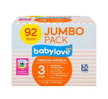 babylove Windeln Premium Größe 3 midi 4-9 kg, 92 Stück XL Pack