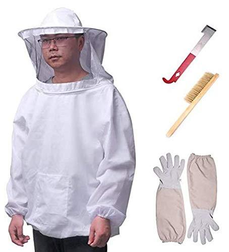 Imkerjacke mit Hut,Professionelle Bienenzucht belüftet Set Jacke mit Schleier + Handschuhe + Schaber + Bienenpinsel für Imker,Imkerhut mit abnehmbarem Schleie