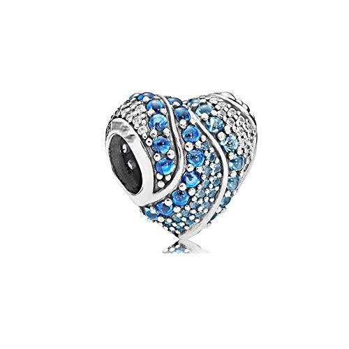Donna Pandora Bead S925 Sterling Silver Classic Blue Ocean Heart Snowflake Cat Eye Dream Catcher Ciondolo In Rilievo Gioielli Fai Da Te Fare Z10
