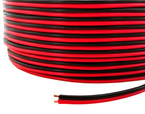 GS Power 100% Copper 20 AWG (American Wire Gauge) Stranded Red/Black 2 Conductor Bonded Zip Cord Cable for Low Voltage Car Electronic Audio LED Light - 50 ft (Also in 100 & 200 ft)