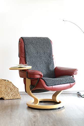 Schurwoll-Sessel- oder Sofaläufer, Anthrazit, Flor aus 100% Schurwolle, Maße ca. 160 x 50 cm