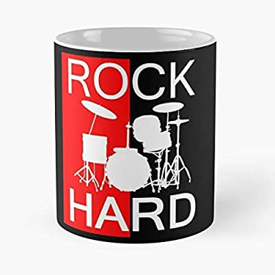 Rock Hard Classic Mug Funny Quote Coffee Christmas Gifts, Unique Or Birthday Gifts Cup White, 11 Oz.