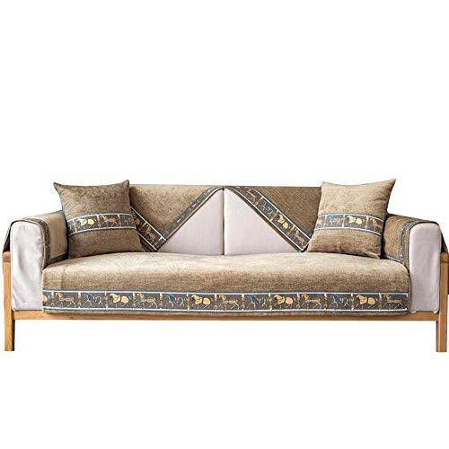 Funda de sofá con Bordado de Chenilla,Funda de sofá,Funda de sofá Reversible,para Mascotas,niños,Perros,Gato,marrón,110 * 180 cm