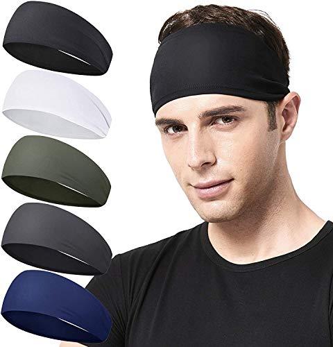 Sport Stirnbänder Herren Stirnband für Männer und Frauen (5er Pack), Leichtes Schweißband Feuchtigkeitsableitendes Workout Schweißbänder für Laufen, Cross Training, Yoga und Fahrrad Unisex Haarband