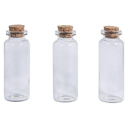 Rayher 46295000 glazen pot met kurk deksel, 2,3 cm ø, 6,5 cm, 20 ml, opening 1,2 cm, box 3 stuks