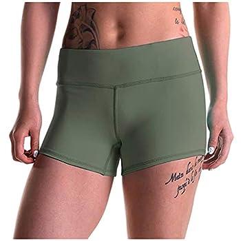 FONMA Womens Shorts Solid Splice High Waist Yoga Pants Tight Bottom Sports Leggings Army Green