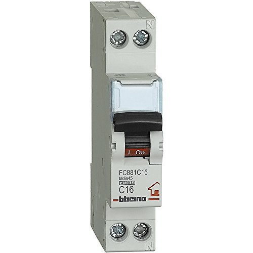 BTicino FC881C16 Btdin, Interruttore Magnetotermico 1P+N Curva C, In = 16 A