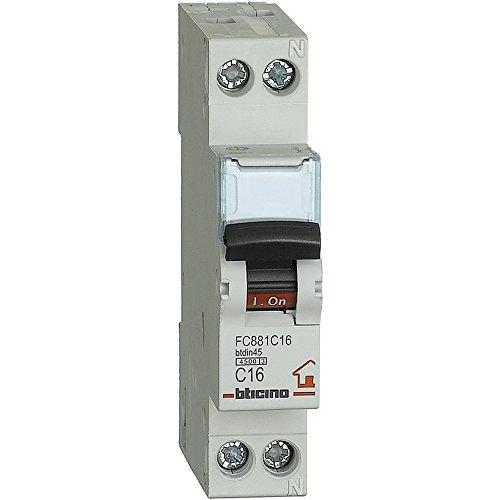 Bticino SFC881C16 FP btdin45 Interruttore, Magnetotermico, C16, 1P+N, 1 m, 4500 A, 16 A