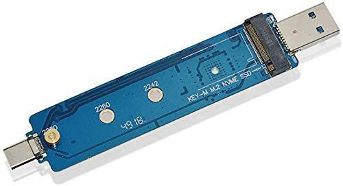 ADWITS USB 3.1 Gen 2 Tipo A y C Combo a M.2 2230/2242/2260/2280 Adaptador SSD NVMe PCIe de Alto Rendimiento, con Controlador de Puente JMS583 Compatible 960 970 EVO Pro Unidad de Estado sólido