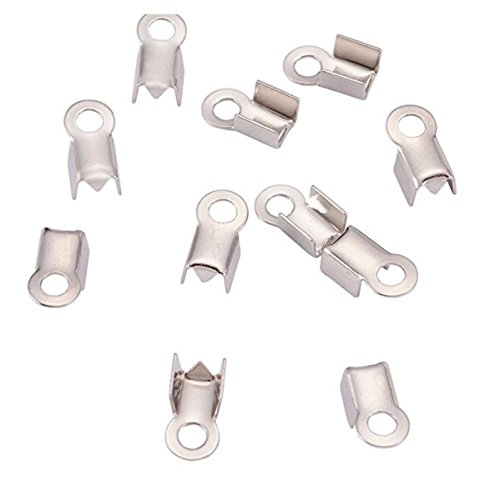 100pcs Tube Fold Over Cord Ends Crimps Tips 7.3mm (0.3 Inch) Terminator Stopper Connector Sterling Silver Plated Copper Brass CF80-1