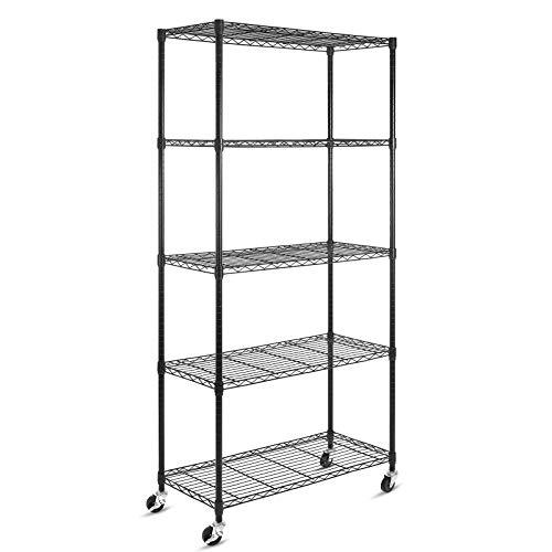 "5-Shelf Shelving Storage Units on Wheels Casters, Adjustable Heavy Duty Metal Shelf Wire Storage Rack for Home Office Garage Kitchen Bathroom Organization(16""Wx36""Dx72""H), Black"