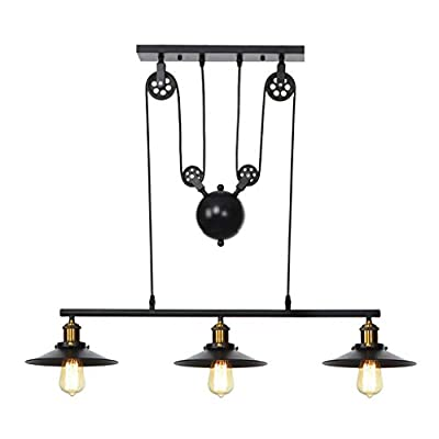 Redgiants Industrial Vintage Chandeliers Pulley 3 Light Pendant Lighting,Iron Hill Three-Light Celling Light Indoor Island Bar Retro Hanging Farmhouse Kitchen Lamp