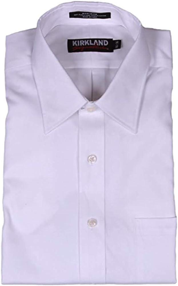 Kirkland Signature Traditional Fit Non-Iron Button Down Collar Oxford Shirt (16 Neck 34/35 Sleeve, White Texture)