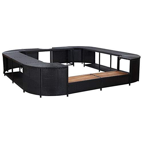 Tidyard Conjuntos Sofa Exterior Patio Tumbona en la Piscina del Patio del Patio Borde de Jacuzzi Cuadrado ratán sintético Negro 268x268x55 cm