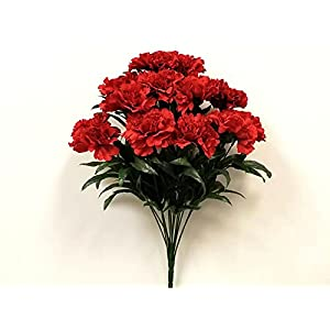Red-Carnation Bush Artificial Silk Flowers 18″ Bouquet