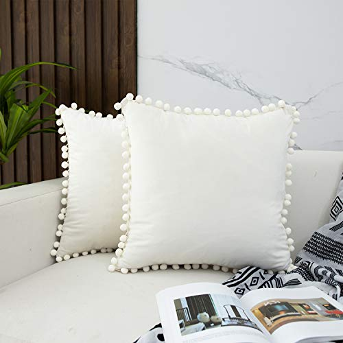 JUSPURBET Decorative Throw Pillow Covers with Soft Pom Poms lace,Pack of 2 Velvet Pillow Cases for Sofa Couch Bed,18x18 Inches,Cream White