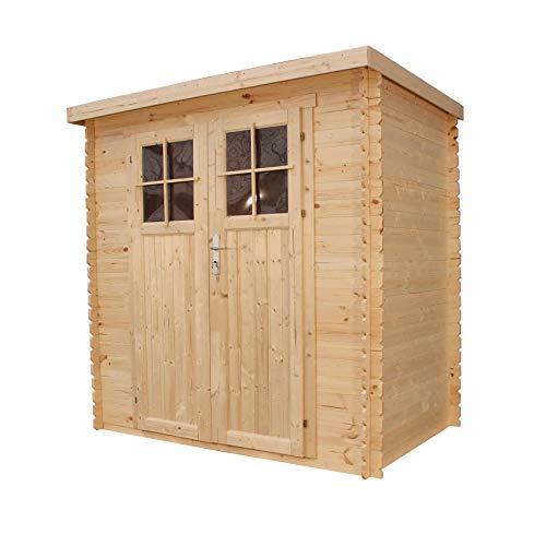 TIMBELA M311F Gartenhaus aus Holz im Freien - Kiefern- / Fichtenschuppen - Flachdach - H200 x 204 x 150 cm / 2,22 m2