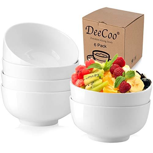 DeeCoo 28 Ounces Porcelain Soup Bowls, Cereal Bowls, Lightweight Bowl Sets 6, Chip Resistant, Nut Bowls, White Bowls, 6 inch Porcelain Serving Bowl for Cereal, Soup, Pasta, Rice, Noodles