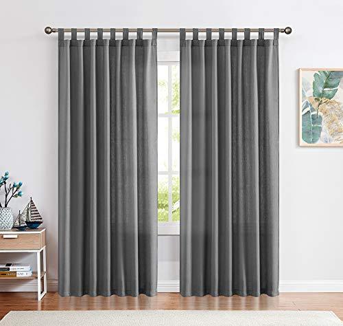 CKNY Gardinen Schlaufenschal Voile Fenster Vorhang Mit Schlaufen Halb Transparent Schlafzimmer Wohnzimmer 2 Stück 245cm x 140 cm (H x B) Grau