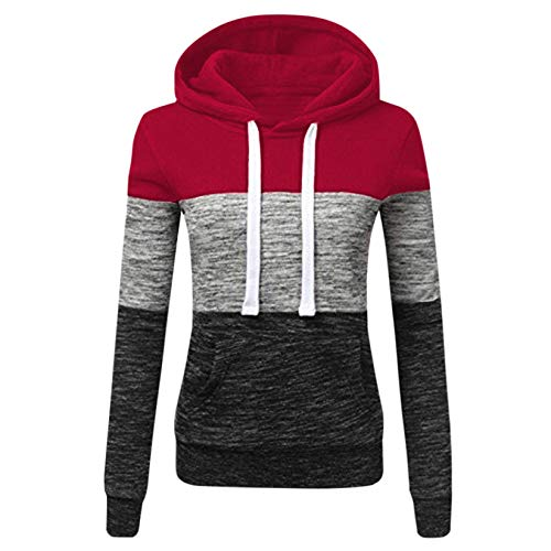 Sweat-Shirt Longue A Capuche,Covermason Femme Sweat-Shirt à Capuche Patchwork Hoodie Manche Longue Sweater Tops Hauts Hooded Chemisier Pullover Automne- Hiver (Vin, Medium)